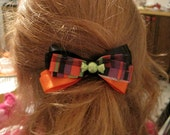 Halloween Barrette, candy, orange, black, purple, green