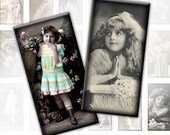 Victorian and edwardian Vintage children framed digital collage sheet domino tile pedant size 1x2 inches rectangles jewelry making paper altered art (052) Buy 3 - get 1 free