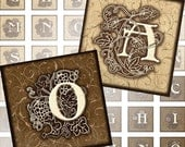 Vintage Ornate Initials Alphabet Letters 1x1 inch digital collage sheet  for necklaces jewelry making paper Monogram (092) Buy 3 - get 1 bonus