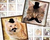 Vintage Cats and kittens with mustache and monocles 1x1 inch squares  framed digital collage sheet (200) Buy 3 - get 1 bonus