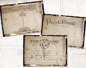 Vintage postcard Backgrounds 2.5 x 3.5 inch digital collage sheet Scrapbooking Ephemera  (331) Buy 3 - get 1 free