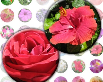 Colorful flowers digital collage sheet 1 inch circles (056) Buy 3 - get 1 free