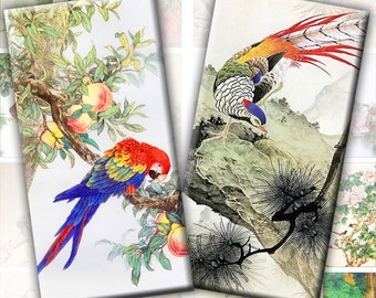 Vintage japanese asian birds nature illustrations digital collage sheet domino tile 1x2 inch rectangles Download (198) Buy 3 - get 1 bonus