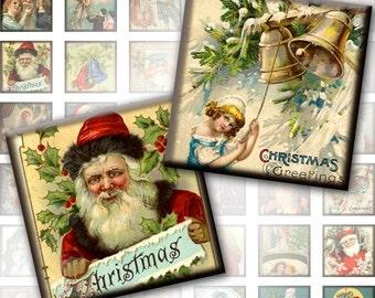 Vintage Christmas framed 1x1 inches squares digital collage sheet pedant size scrabble tile  (207) Buy 3 - get 1 bonus