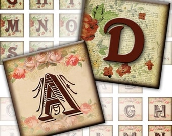 Vintage inspired Alphabet Letters 2-in-1 digital collage sheet 1x1 inch (214) Buy 3 - get 1 bonus