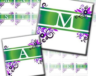 Purple and green Floral and swirls Alphabet Letters 2-in-1 1 inch 0.75x0.83 inch (221) Buy 3 - get 1 bonus