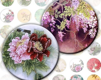 Vintage japanese asian flowers nature illustrations digital collage sheet 1 inch circles (192) Buy 3 - get 1 bonus