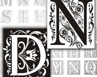 Vintage Ornate Initials Black and white Alphabet Letters 0.75 x 0.83 inches digital collage sheet Monogram (136) Buy 3 - get 1 bonus