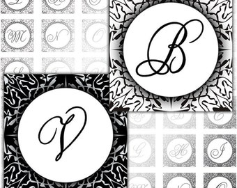 Black and White Damask elegant Alphabet Letters 1x1 inch squares digital collage sheet Monogram (083) Buy 3 - get 4