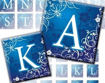 Blue Swirls and flowers Alphabet Letters 2-in-1 digital collage sheet 1x1 inch 0.75x0.83 inch (220) Buy 3 - get 1 bonus
