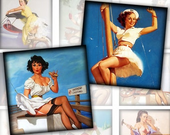 Pinup girls framed 4 digital collage sheet 60 images 2x2 inch squares (169) Buy 3 - get 1 free