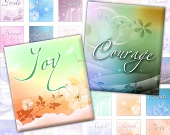 Inspirational words digital collage sheet 0.75 x 0.83 inches scrabble tile  (255) Buy 3 - get 1 free
