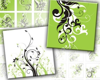 Green and white Swirls digital collage sheet scrabble tile 1x1 inches squares (115) Buy 3 - get 1 bonus