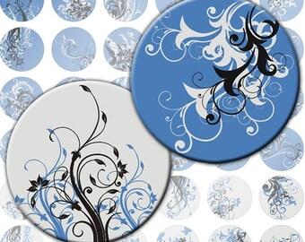 Blue and grey Swirls digital collage sheet 1 inch circles (085) Buy 3 - get 1 free