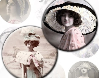 Vintage Victorian and Edwardian ladies photos digital collage sheet 2,5 inch circles for Pocket Mirrors (155) Buy 3 - get 1 bonus