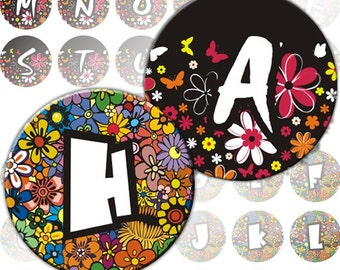 Alphabet letters with floral background 2-in-1 digital collage sheet 1 inch circle Monogram (269) Buy 3 - get 1 bonus
