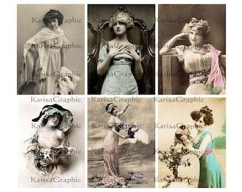 Vintage Victorian and Edwardian ladies 3x4 inches digital collage sheet Vol.1 (286) Buy 3 - get 1 bonus