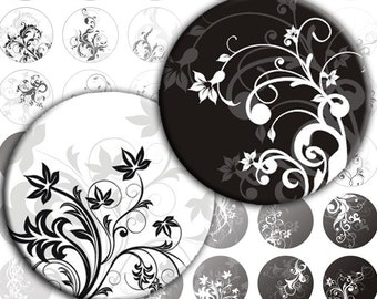 Black and white Swirls digital collage sheet 1 inch circles (036) Buy 3 - get 1 free