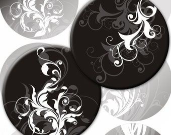 White and grey Swirls with black background 3,5 inch circles for Pocket Mirrors magnets (238) Buy 3 - get 1 bonus