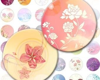 Colorful Flowers and swirls 1 inch circles digital collage sheet  (062) Buy 3 - get 1 bonus