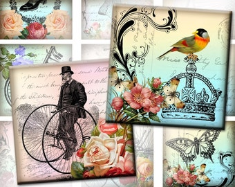 Whimsical vintage 2x2 inch digital collage sheet  Download (293) Buy 3 - get 1 bonus