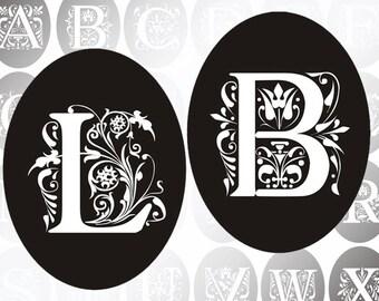 Vintage Ornate Initials Alphabet Letters digital collage sheet Ovals 30mm x 40mm (306) Buy 3 - get 1 bonus
