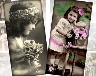 Victorian and edwardian Vintage children digital collage sheet domino tile 1x2 inchies rectangles (064) Buy 3 - get 1 free