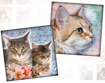 Vintage Cats and kittens Ephemera digital collage sheet pedant size 1x1 inches (112) Buy 3 - get 1 free