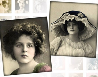 Victorian and edwardian Vintage ladies digital collage sheet  0.75 x 0.83 inches (160) Buy 3 - get 1 free