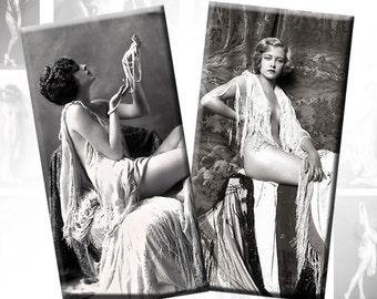 Vintage Erotic Ladies digital collage sheet domino tile  1x2 inches rectangles  (150) Buy 3 - get 1 bonus
