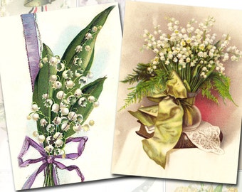 Lily of the valley Vintage Postcards 2.5 x 3.5 inch ATC ACEO Scrapbooking Greeting Cards Decoupage Craft Tag (338) Buy 3 - get 1 free