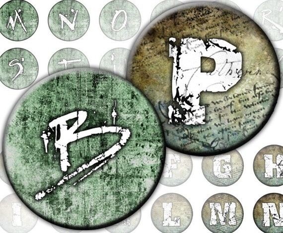 Steampunk Alphabet Initials Letters 2-in-1 digital collage sheet 1 inch circles  Monogram mans boys grunge (215) Buy 3 - get 1 bonus