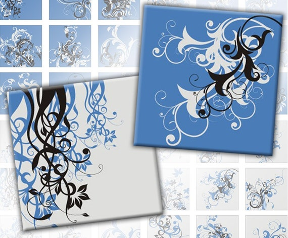 Blue and grey Swirls digital collage sheet  1x1 inches squares  (079) Buy 3 - get 1 free