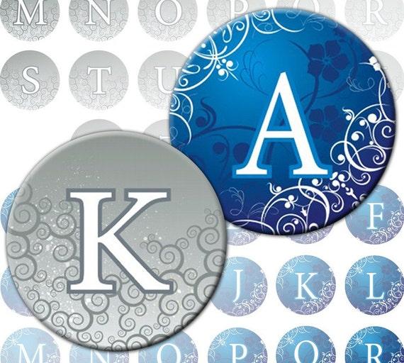 Romantic Alphabet Letters 2-in-1 digital collage sheet 1 inch circles Monogram (267) Buy 3 - get 1 bonus