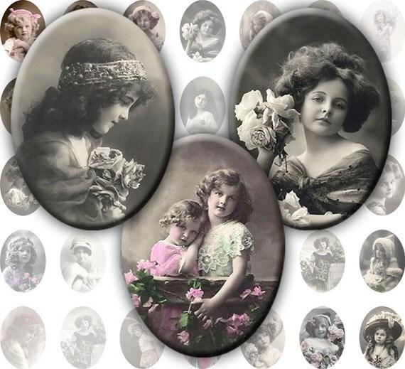 Vintage Victorian and Edwardian children Ovals 25mm x 18mm digital collage sheet  (291) Buy 3 - get 1 bonus