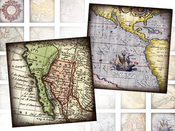Antique vintage World maps 1x1 inch squares digital collage sheet  (328) Buy 3 - get 1 bonus