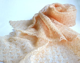 Pale Peach Scarf Linen Shawl Bridesmaid Stole Wedding Scarf Engagement Shawl Knitted Wrap Sheer Lace Scarf Gift Scarf Beach Wedding Scarf