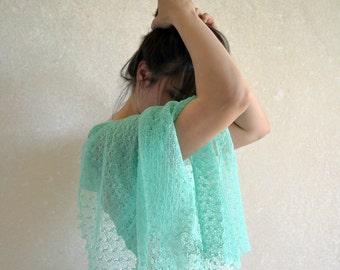Mint Linen Scarf Wedding Shawl Knitted Wrap Bridesmaid Gift Stole Knitted Gauzy Scarf Transparent Lace Stole Boho Style