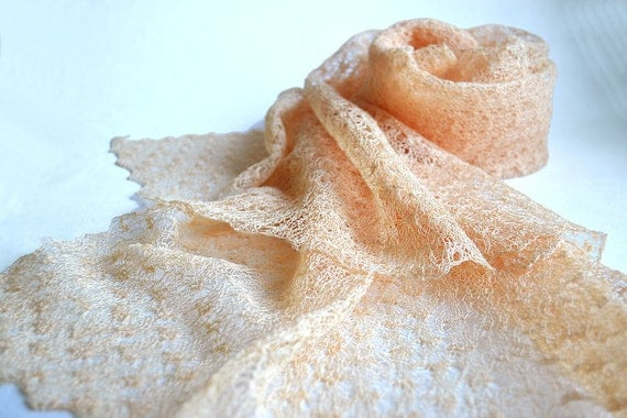 Linen Scarf  Engagement Shawl Bridesmaid Stole Pale Peach Scarf Knitted Gauzy Scarf Sheer Lace Scarf Gift Scarf