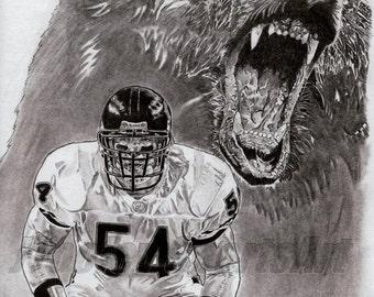 Chicago Bears Brian Urlacher Art Poster