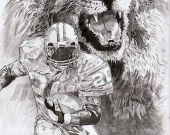 Detroit Lions Barry Sanders Poster Art