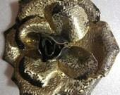 Flowers on a Flower Vintage Gold Tone Rose Brooch