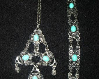 Vintage Necklace & Bracelet with Faux Turquoise Details