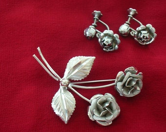 A Rose By Any Other Name Vintage Brooch & Earrings