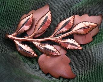 Vintage RENOIR Copper Leaf Brooch