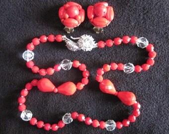 Seeing Red JUDITH MCCANN Vintage Glass Bead Necklace & West German Earrings