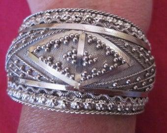 Chunky Silver Tone Hinged Cuff Bracelet