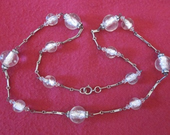 SALE - Look Into My Crystal Ball Vintage Glass Bead Necklace