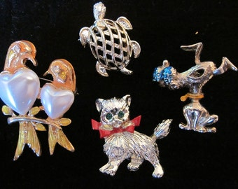 Turtle, Cat, Dog and Love Birds, OH MY Vintage Cluster Pins