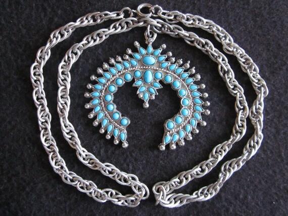 Vintage Faux Turquoise Native Necklace